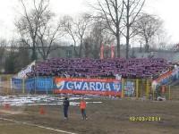 Flagi Górnika na wyjeździe Gwardii w Słupsku